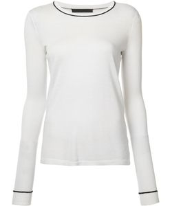 Jenni Kayne | Contrast Neck Knitted T-Shirt Medium Viscose/Cashmere