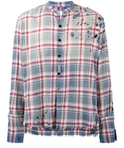 GREG LAUREN   Faded Destroyed Flannel Shirt Men