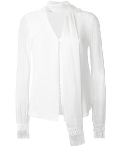 Jonathan Simkhai | Fringe V-Neck Scarf Blouse Small Silk/Cotton/Viscose/Polyamide