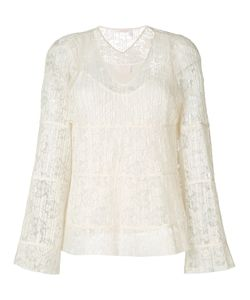 See By Chloe | Pleated Lace V-Neck Bell Sleeve Blouse