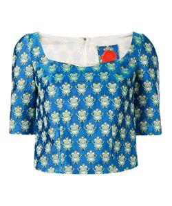 Ultràchic | Frog Print Cropped Blouse Size Medium Cotton/Polyester/Acetate/Polybutylene Terephthalate