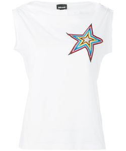 Just Cavalli   Star Embroidered Patch Top Size Small