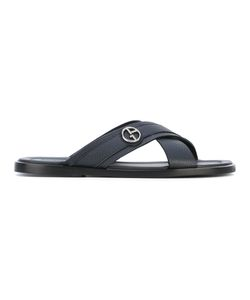 Giorgio Armani | Crossover Slides Calf Leather/Thermoplastic Polyurethane
