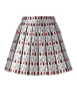 Alice + Olivia | Makeup Pattern Pleated Skirt 6 Polyester/Spandex/Elastane