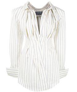 JACQUEMUS | Striped Shirt Dress Womens Size 40 Cotton/Linen/Flax