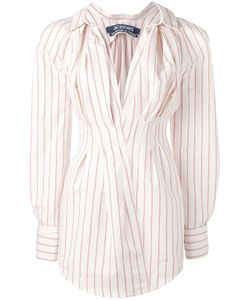 JACQUEMUS | Striped V-Neck Mini Dress 34 Cotton/Linen/Flax
