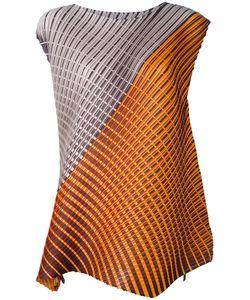 PLEATS PLEASE BY ISSEY MIYAKE   Geometric Print Sleeveless Blouse
