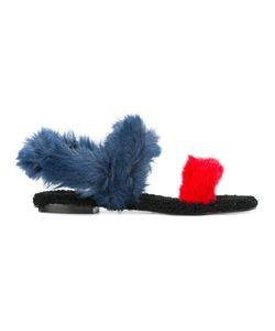 Avec Modération | Sling-Back Flat Sandals 40 Leather/Artificial Fur/Rubber