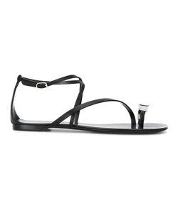 Casadei | Rhinestone Embellished Flat Sandals Calf Leather/Leather/Nappa