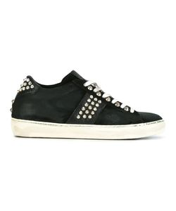 Leather Crown | Studded Lace-Up Sneakers 40 Leather/Cotton/Rubber