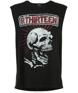R13   Skull Print Sleeveless T-Shirt Xl Cotton/Polyurethane