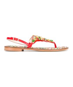 EMANUELA CARUSO | Stones Embellished Flat Sandals Calf
