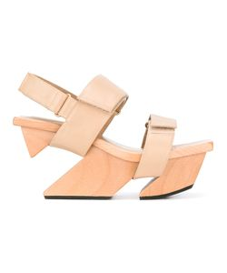 Issey Miyake | Platform Sandals 37 Wood/Leather/Rubber