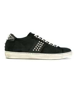 Leather Crown | Studded Lace-Up Sneakers 44 Leather/Cotton/Rubber
