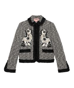Gucci   Embroidered Tweed Jacket Size 46