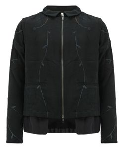 BY WALID | Leaf Embroidery Zip Jacket Large Silk