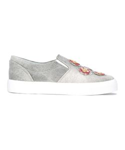 Chiara Ferragni | Embellished Slip-On Sneakers 40 Cotton/Polyester/Leather/Rubber