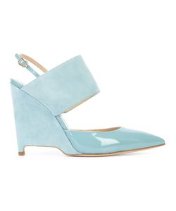 Paul Andrew   Cross-Strap Wedge Sandals 37 Patent Leather/Leather/Suede