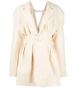 JACQUEMUS | V-Back Pleated Blazer 38 Linen/Flax/Viscose/Cotton