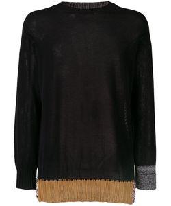 MAISON FLANEUR | Contrast Panel Sweater 52 Cotton/Viscose/Silk/Polyester