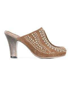 CALLEEN CORDERO | Studded Mid-Heel Mules 8 Suede/Leather/Metal Other