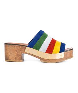 ROSETTA GETTY   Stripe Clog Mules 37 Calf Suede/Leather/Rubber