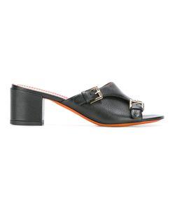 Santoni | Peep Toe Mules 36 Calf Leather/Leather