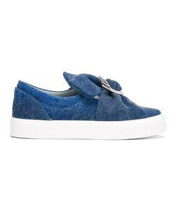 Chiara Ferragni | Oversized Bow Slip-On Sneakers 39 Cotton/Rubber/Leather