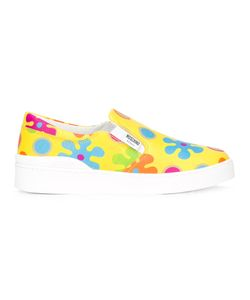 Moschino | Flower Power Slip-On Sneakers 39 Leather/Polyester/Rubber
