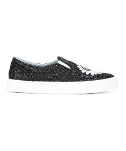 Chiara Ferragni | Glitter Slip-On Sneakers 41 Calf Leather/Leather/Cotton/Pvc