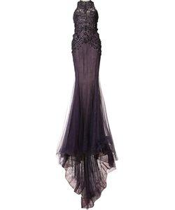 Marchesa | Приталенное Вечернее Платье С Блестящей Отделкой