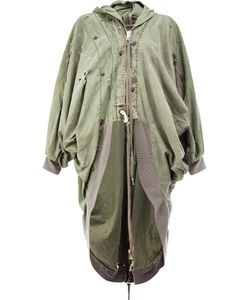GREG LAUREN | Draped Kimono Parka Coat 1 Cotton