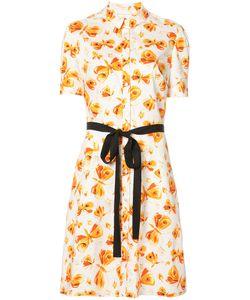 Carolina Herrera   Платье С Бабочками И Контрастным Поясом