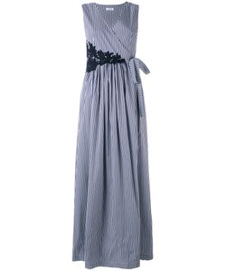 P.A.R.O.S.H. | P.A.R.O.S.H. Long Striped Sleeveless Wrap Dress