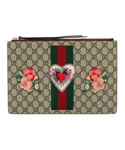 Gucci | Embroidered Gg Supreme Clutch Bag