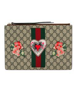 Gucci | Embroidered Gg Supreme Clutch Bag