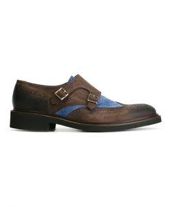 Eleventy   Denim Detail Monk Shoes 41 Leather/Cotton/Rubber