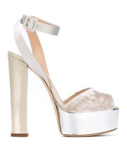 Giuseppe Zanotti Design | Amelia Velvet Sandals Size 37.5 Cotton/Silk/Patent