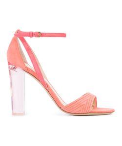 Monique Lhuillier | Clear Heel Sandals 38 Suede/Leather