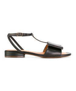 Chie Mihara | T-Strap Flat Sandals 39 Calf Leather/Leather/Rubber