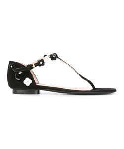 BOUTIQUE MOSCHINO | Applique Flat Sandals 38 Leather