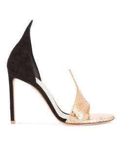 FRANCESCO RUSSO | Detail Sandals 39 Suede/Snake Skin/Leather