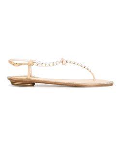 Rene' Caovilla | René Caovilla Pearled T-Bar Sandals 37 Calf Leather/Leather