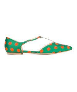 LENORA | Polka Dots T-Strap Ballerinas 38.5 Silk/Leather