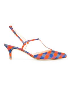 LENORA | Checked Pumps 38 Leather/Cotton