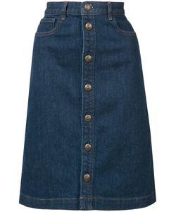 A.P.C.   Stonewashed Denim Skirt 36 Cotton/Polyurethane