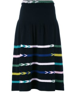 BARRIE   Striped Knit Skirt Medium Cashmere
