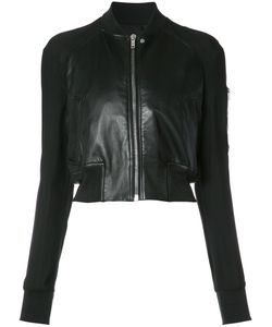 Rick Owens | Zipped Crop Jacket 44 Cotton/Leather/Acetate/Viscose