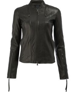 Ilaria Nistri   Zip Detail Leather Jacket Size 42 Linen/Flax/Lamb