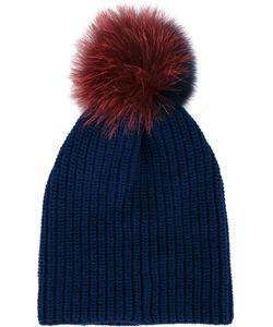 Inverni | Two-Tone Fur Pom Pom Beanie Wool/Cashmere